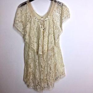Free People ivory lace dress size S women's